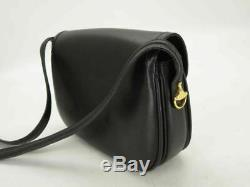 Used AUTH CUCCI SHOULDER BAG VINTAGE BLACK LEATHER HORSE BIT