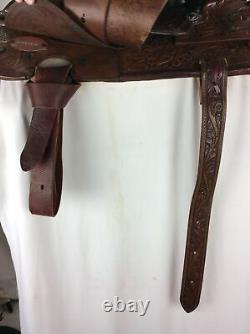Used Circle Y Vintage Tooled Leather Western Saddle 15 Seat, Wide Tree