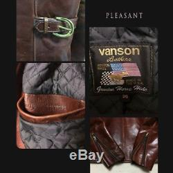 VANSON Horse Leather Riders Jacket Size 36 Reddish brown ENF 9D Vintage