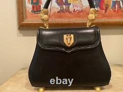 VICENZA 1993 Black LEATHER Smooth Leather EQUESTRIAN PURSE Vintage