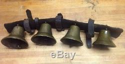 Vintage 1800s Primitive 4 Brass Horse Carriage Buggy Bells On Leather