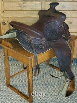 VINTAGE 1970s BIG HORN 14.5 TOOLED LEATHER WESTERN HORSE SADDLE TRAIL PLEASURE