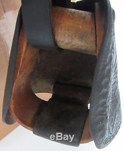 VINTAGE Barn Find Roy Rogers Children's Saddle Leather ORIGINAL Western Horse ++