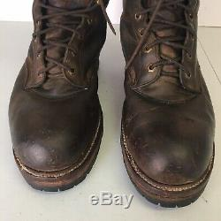 VINTAGE CHIPPEWA 9 BAY CRAZY HORSE SUPER LOGGER 25485 Leather Boots Mens 12eee