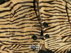 VINTAGE Designer Horse Hair Tiger Print Flared Pants Waistcoat 60s 70s Costume S