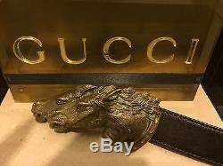 VINTAGE GUCCI DOUBLE HORSE HEAD BRASS BUCKLE With GUCCI BROWN LEATHER BELT UNISEX