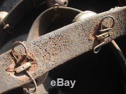 Vintage Horse Sleigh Bells, 9 Amish Brass On Leather Strap, #chi-028