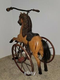 VINTAGE Hand carved painted Horse-leather saddle-Tricycle-Velocipede