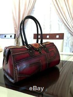 VINTAGE Handmade Tooled Genuine Leather Purse Hand Bag Very Detailed Design