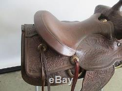 VINTAGE LEATHER HORSE SADDLE With EMBOSSED LEATHER 16 SEAT SILVER TONE HARDWARE