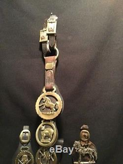 Vintage Lot Of Brass And Leather Horse Medallions Equestrian Saddle Ornament