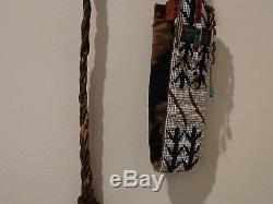 Vintage Native American Indian Horse Quirt Riding Whip Leather Beaded Handle