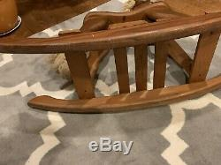 VINTAGE SOLID WOOD LEATHER EARS ROCKING HORSE Woods of America 1981