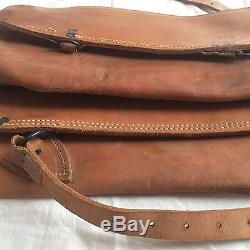 VINTAGE US Calvary WWI Canister Carriers Horse Gas Masks Leather RARE