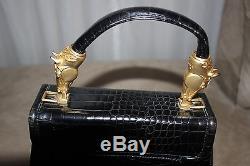 VINTAGE VICENZA Black Leather Gold Tone Horse Detail Frame Handbag Equestrian