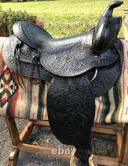 VINTAGE WESTERN Arabian PARADE Pleasure SADDLE Smooth Seat 15 Round Skirt Black