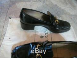 VINTAGE gucci ladies shoes 8.5 classic horse bit loafers