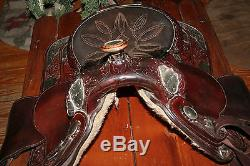 VTG 14 Circle Y Brown Leather Professional Show Horse Western Saddle with Silver