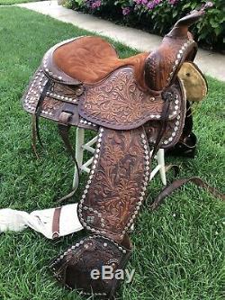 VTG 15 WESTERN HORSE SADDLE 7 Gullet BIG W COWBOY Tooled Stirrups #436 Show