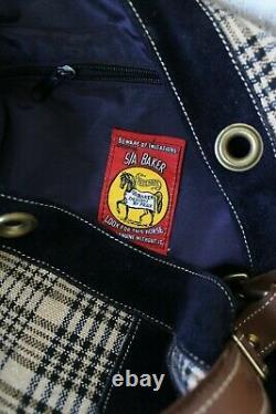 VTG 5/A Baker wool plaid blanket bucket tote bag equestrian polo horse purse