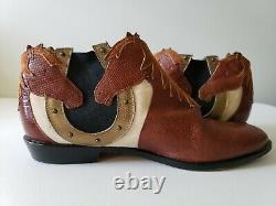 VTG 80s 90s Zalo Womens 8 N Leather Horses Horseshoe Chelsea Ankle Boots