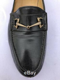VTG GUCCI Brass Horse Bit Black Leather slip on men's Loafer 9.5 D / 42.5D 750