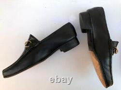 VTG GUCCI Brass Horse Bit Black Leather slip on men's Loafer + shoe trees 750
