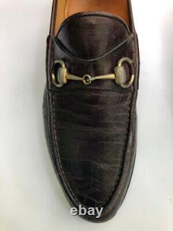 VTG GUCCI Brass Horse Bit Brown Leather slip on men's Loafer 9.5 M / 43 750