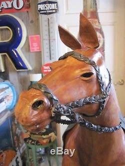 VTG Leather Horse 4'8 TALL 4'8 LONG HUGE DISPLAY Equestrian Man Cave Store