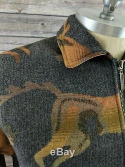 VTG Pendleton Mens Coat Jacket Coat Wild Horses Indian Wool Leather Size Small