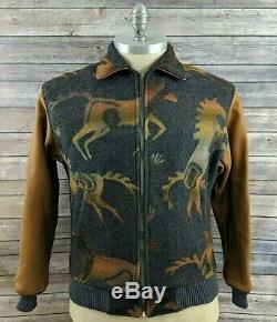 VTG Pendleton Mens Jacket Coat Wild Horses Indian Wool Leather Sleeves Small