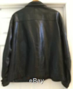 VTG RARE POLO BY RALPH LAUREN JACKET BLACK HORSE LEATHER Full ZIP LOGO Men XXL