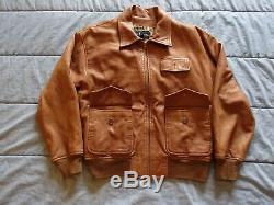 VTG Ralph Lauren Polo Women's Leather Jacket Sz 12 Painted Horse Bomber 1997