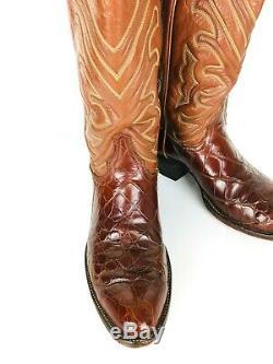 VTG Tony Lama El Rey Collection Exotic American Alligator Western Cowboy Boots