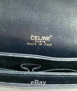 Verified Vintage Celine Box Horse Carriage Navy Leather Shoulder Hand Bag Rare