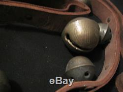 Very Nice Genuine Old Vintage Sleigh Bells Graduated Long Leather Belt Horse 19