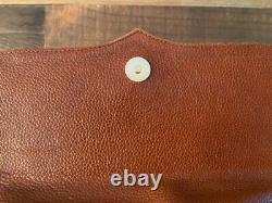 Vicenza Inc 1993 Rare Vintag Brown Leather Croc Gold Tone Horse Hardware Handbag