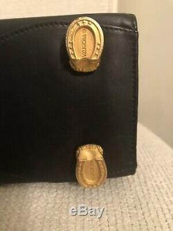 Vicenza Inc 1993 (Rare Vintage Black Leather Goldtone Horse Hardware Handbag)