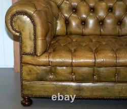 Victorian Horse Hair Green Hand Dyed Leather Chesterfield Fully Button Base Sofa