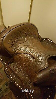Vintage 15 1950's Western White Buck Stitch Tooled Leather Horse Saddle 1503