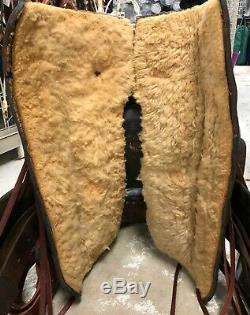 Vintage 16 Slick Seat Saddle withHorse Tooling Very Unique! Pre-owned Fair Cond