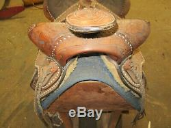Vintage 16 Tex Tan Tooled Leather Horse Saddle Hereford Brand