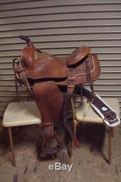 Vintage 16 Tooled Western Leather Pleasure Trail Ranch Circle Horse Saddle Tack