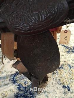 Vintage 16 Western Leather Horse Saddle Tooled