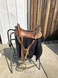Vintage 1918 Mcclellan U S Army Leather Horse Saddle with the 12Inch Brass Tag