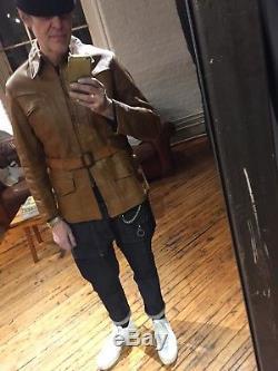 Vintage 1930s Horse Hide Leather Half Belt Jacket 40
