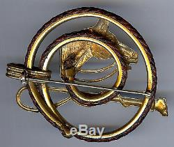 Vintage 1940's Brass Horse Head Riding Crop Braided Leather Equestrian Pin