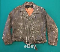 Vintage 1940's Distressed Studded Horse Hide Leather Motorcycle Jacket XL