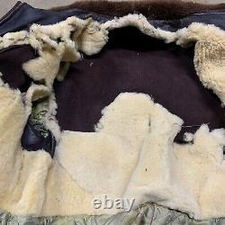 Vintage 1940s Durable Brand Horse Hide Leather Bomber Jacket Talon Zipper