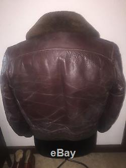 Vintage 1950's-60's shearling horse hide leather jacket med-large